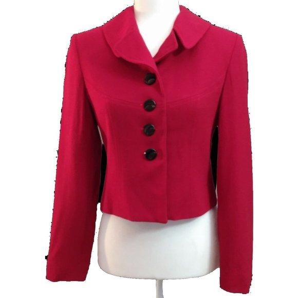 Casual Corner Deep Red Cropped Suit Jacket 100% Wool